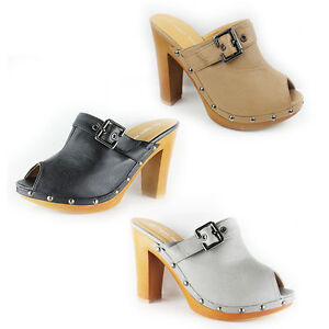 womens high block heel peep toe slip on mules clogs