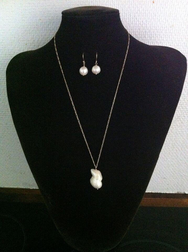 Smykkesæt, perler, sølv øreringe vedhæng