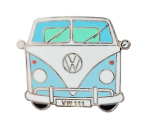 Classic VW Type 2 T1 Camper Van Light Blue Pin Badge