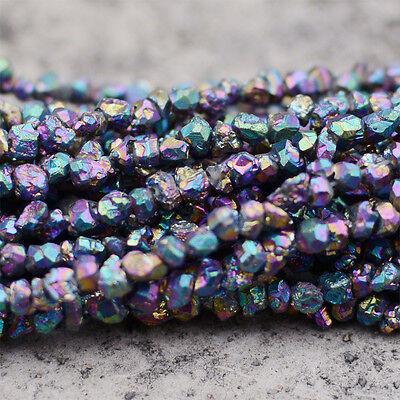 "0964 3-4mm Drusy druzy citrine titanum chips loose beads 16"" SHINING!"