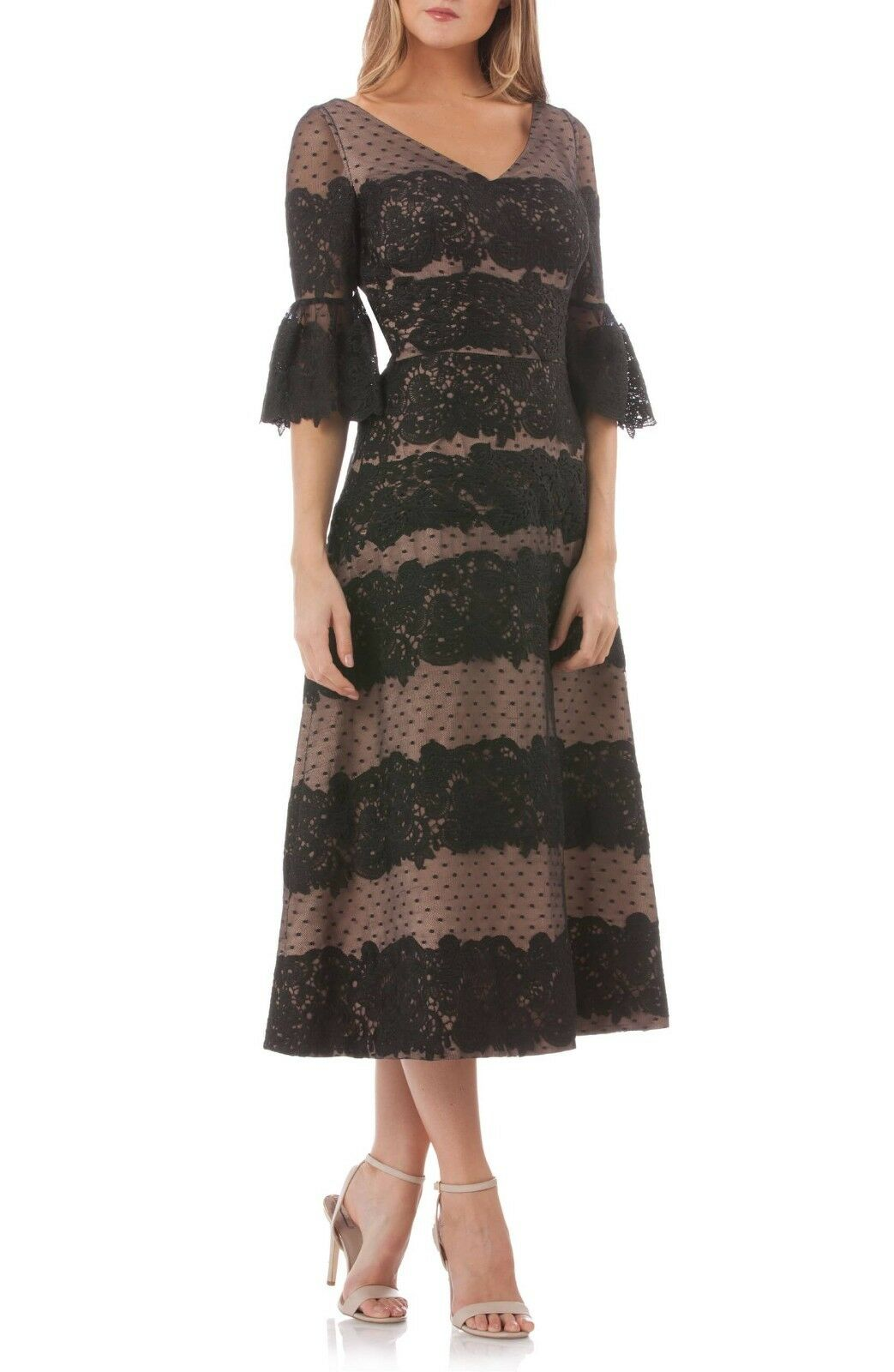 JS Collections Embroidered Lace Tea Length Dress  ( Size 8)