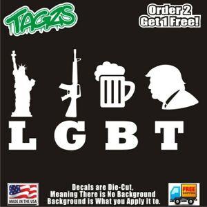 Lgbt Liberty Guns Beer Trump Funny Diecut Vinyl Window Decal Sticker Car Truck Ebay