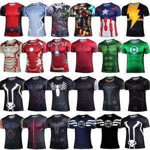 Image is loading Men-Marvel-Avengers-Superhero-T-Shirt-Compression-Sports- 3c809a9b4