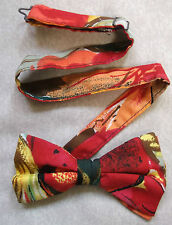 VINTAGE MENS DICKIE BOW TIE BOWTIE 1980s 1990s COTTON ABSTRACT RED YELLOW BLACK