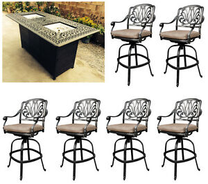 Outdoor-propane-fire-pit-table-Elisabeth-bar-stools-cast-aluminum-furniture