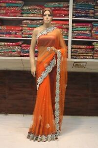 Bollywood Hand Embroidered Zircon Work Bridal Saree Indian Sari Party Wear Dress Women's Clothing Other Women's Clothing