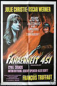 FAHRENHEIT-451-Rare-US-ONE-SHEET-Movie-poster-Julie-Christie-Francois-Truffaut