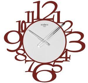 OROLOGIO-PARETE-IN-METALLO-COLORE-ROSSO-50X50-MODERNO-E-DI-DESIGN-WALL-CLOCK