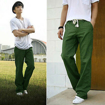 Men's Comfortable Linen Pants Yoga Trousers Loose Summer Beach Drawstring Slacks