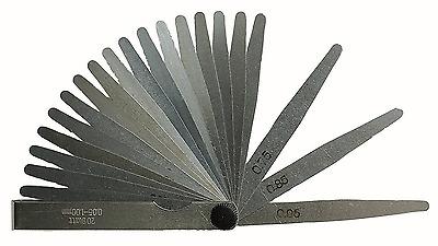 0.02 150/mm lang 17/Bl/ätter. 1,00/mm dicke F/ühlerlehre
