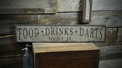 "Custom ""Food Drinks Darts"" Sign -Rustic Hand Made Vintage Wooden Sign ENS1000327"
