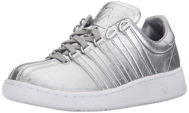 K-Swiss Women's Classic VN Aged Foil Silver Athletic Sneaker 93744 086