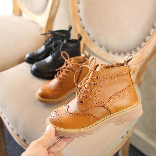 Boys Girl Baby Kids Leather Lace Up Brogue Chelsea Ankle Boots Winter Warm Shoes
