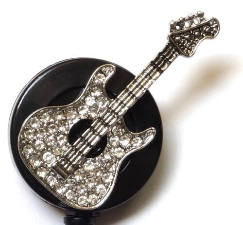 Silver Guitar Rhinestone retractable ID badge holder reel w// Bulldog Clip