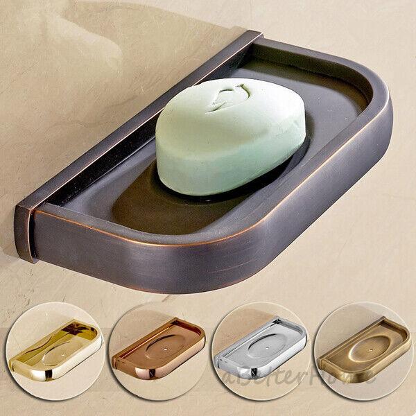 Wall Mount Antique Brass Ceramic Soap Storage Tray Bathroom Soap Dish Holder