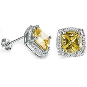 Gorgeous-Square-Yellow-Topaz-amp-White-Sapphire-Halo-Earrings-in-Sterling-Silver