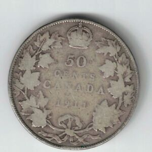 CANADA-1911-50-CENTS-HALF-DOLLAR-KING-GEORGE-V-STERLING-SILVER-CANADIAN-COIN