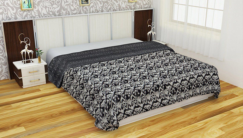 Indian Handmade Queen Cotton Kantha Quilt Throw Blanket Bedspread Throw Vintage