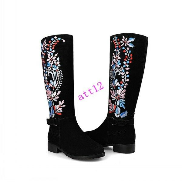 Ethnic women's embroider floral flat knee high boots buckle casual leather chic