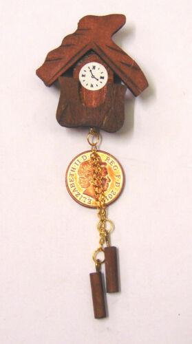 Échelle 1:12 non fonctionnel marron en bois Coucou tumdee maison de poupées miniature 96