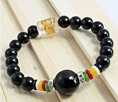 "Long Stretchy Tibetan OM Mani 9.5mm Black Agate Prayer Beads Mala Bracelet -7"""