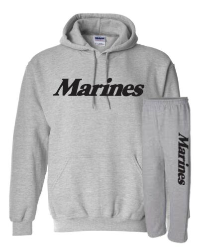 Marines SWEATSHIRT HOODIE /& SWEATPANTS COMBO SET Military War Sport Gray 482