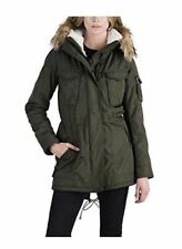 S13 New York Women's Sherpa Lined Anorak Jacket Faux Fur Hood Coat Size L