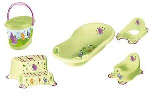 5er Set  Hippo grün Badewanne  XXL Topf WC Aufsatz Windeleimer Hocker