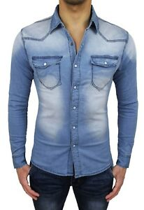 3d6d950338 La imagen se está cargando Camisa-de-pantalones-vaqueros -hombre-Diamond-casual-algodon-