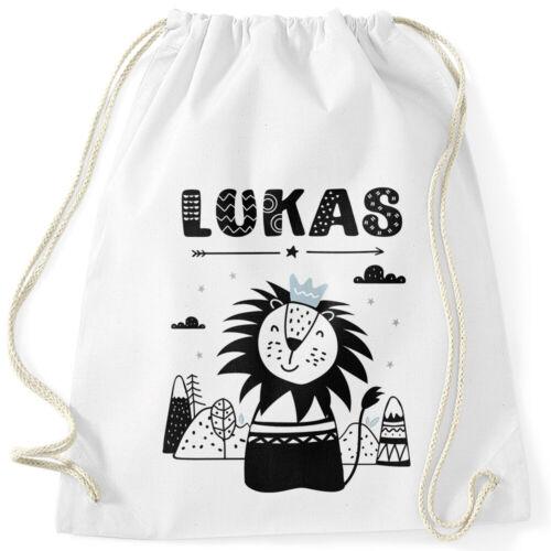 Kinder Turnbeutel personalisiert mit Name Löwe Tier-Motiv Namensaufdruck