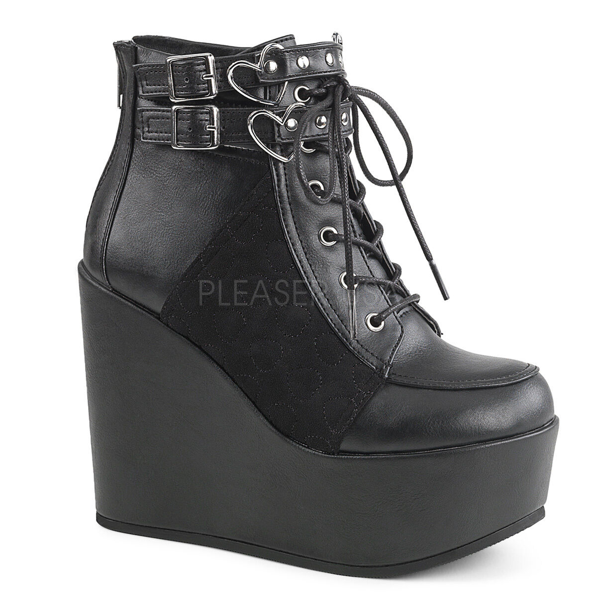 Demonia 5  Heel Wedge Platform Studded Strap Heart Buckle Boots Club Goth 6-12