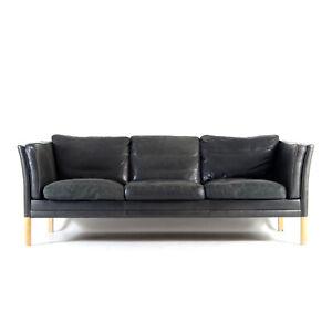 Retro Vintage Danish Leather 3 Seat Seater Sofa Mid Century 60s 70s Mogensen Oak