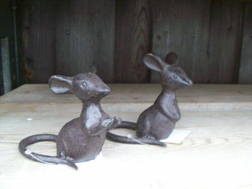 1 Set Maus Gusseisen Deko Garten Neu Landhaus shabby Rost Mäuschen 2 Stück