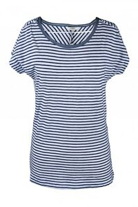 Sandwich-T-Shirt-Gestreift-Basic-Shirt-Jersey-Blau-Weiss-Baumwolle-Gr-XS-XXL