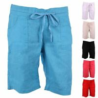 NEW LADIES SOFT LINEN BEACH SHORTS WOMENS SUMMER BEACH WEAR HOLIDAY SHORTS 12-18