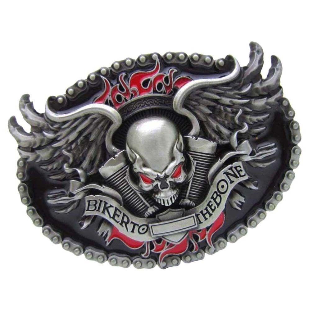 1 Stück Neuheit BIKER TO THE BONE Skelett Kopf Western Cowboy Metall