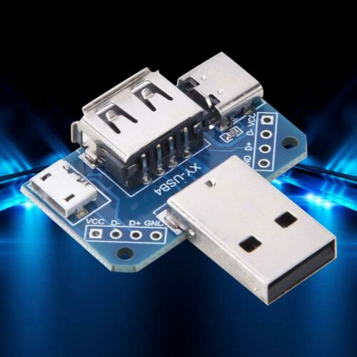 5x Male USB to Mikro-USB Typ-C Female USB Adapter Modul Platine 4P DC5V Satz NEU