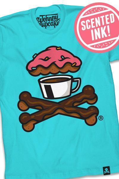 SPECIAL Johnny Cupcakes T-Shirt: Herren Donut & Coffee Crossbones