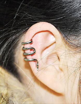Vintage Gothic Punk Snake Cartilage Ear Cuff Clip Wrap Stud Earrings Jewellery