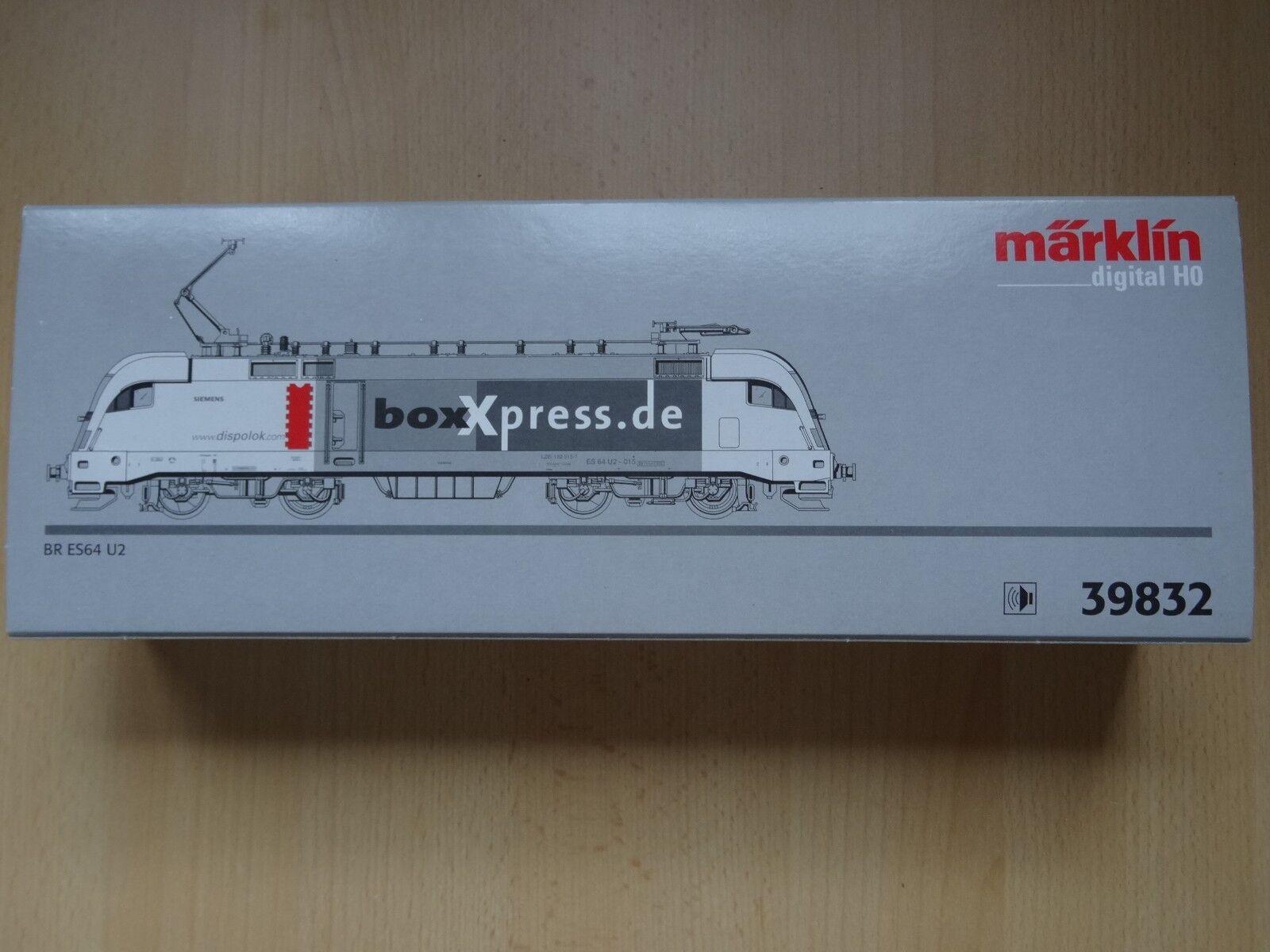Märklin HO 39832 E-Lok BR es 64 U 2 boxxpress Dig, sound Neuw/Org-KT
