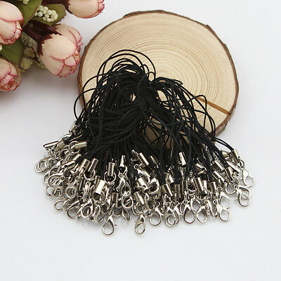 100Pcs Black Cell Phone Lanyard Cords Strap Lariat Mobile Lobster Clasp IDXX
