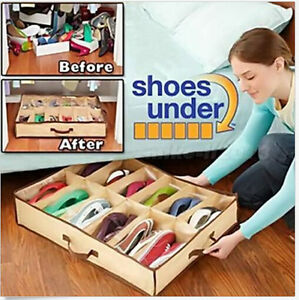 Sales-12-Pairs-Shoes-Storage-Organizer-Holder-Container-Under-Bed-Closet-Box-Bag