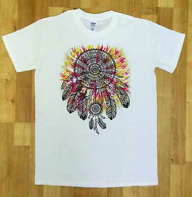 Women's Top Dreamcatcher Slogan Watercolours Red Indian American Feathers TS1173