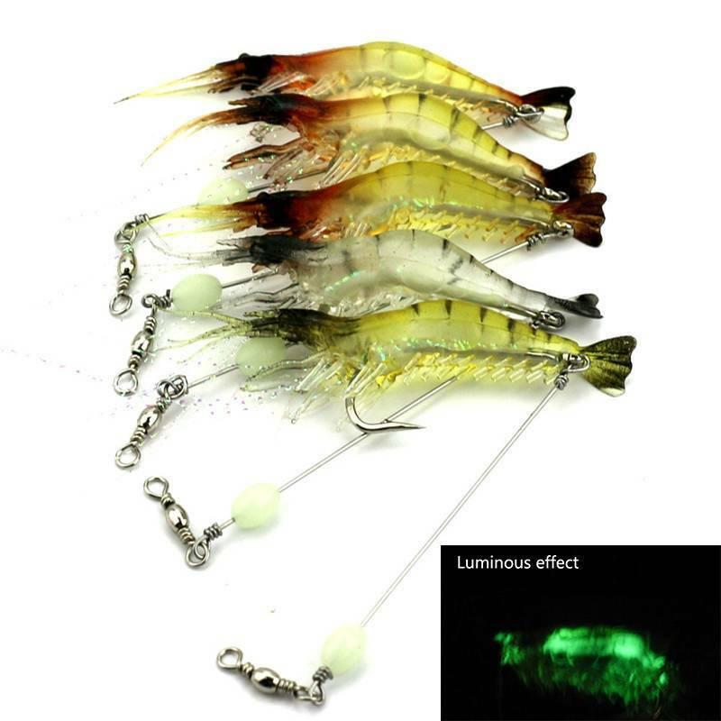 Shrimp Fishing Lures Simulation Soft Prawn Lure Hook Bait Sea Fishing Lures 10X