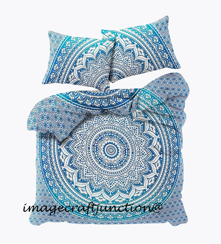 Indian Mandala Duvet Doona Quilt Cover Set Queen Single Size Bedding Throw bluee