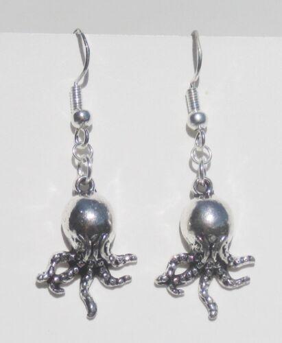 3-D Octopus Argent Boucles d/'oreilles avec Argent .925 CROCHETS ET ANNEAUX Handcrafted