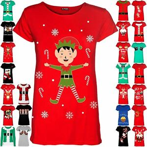 Womens-Christmas-Xmas-Pullover-Elf-Candystick-Snowflakes-Ladies-T-Shirt-Tee-Top