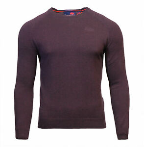 Superdry-Mens-New-Orange-Label-Crew-Neck-Cotton-Jumper-Long-Sleeve-Burgundy