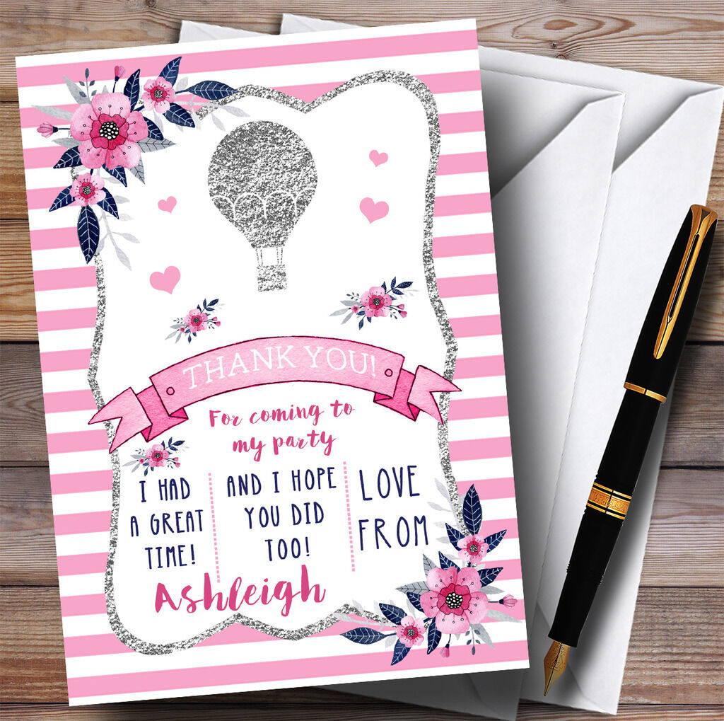 Argent & rose Air Hot Air rose Balloon Party Merci cartes 4274e4