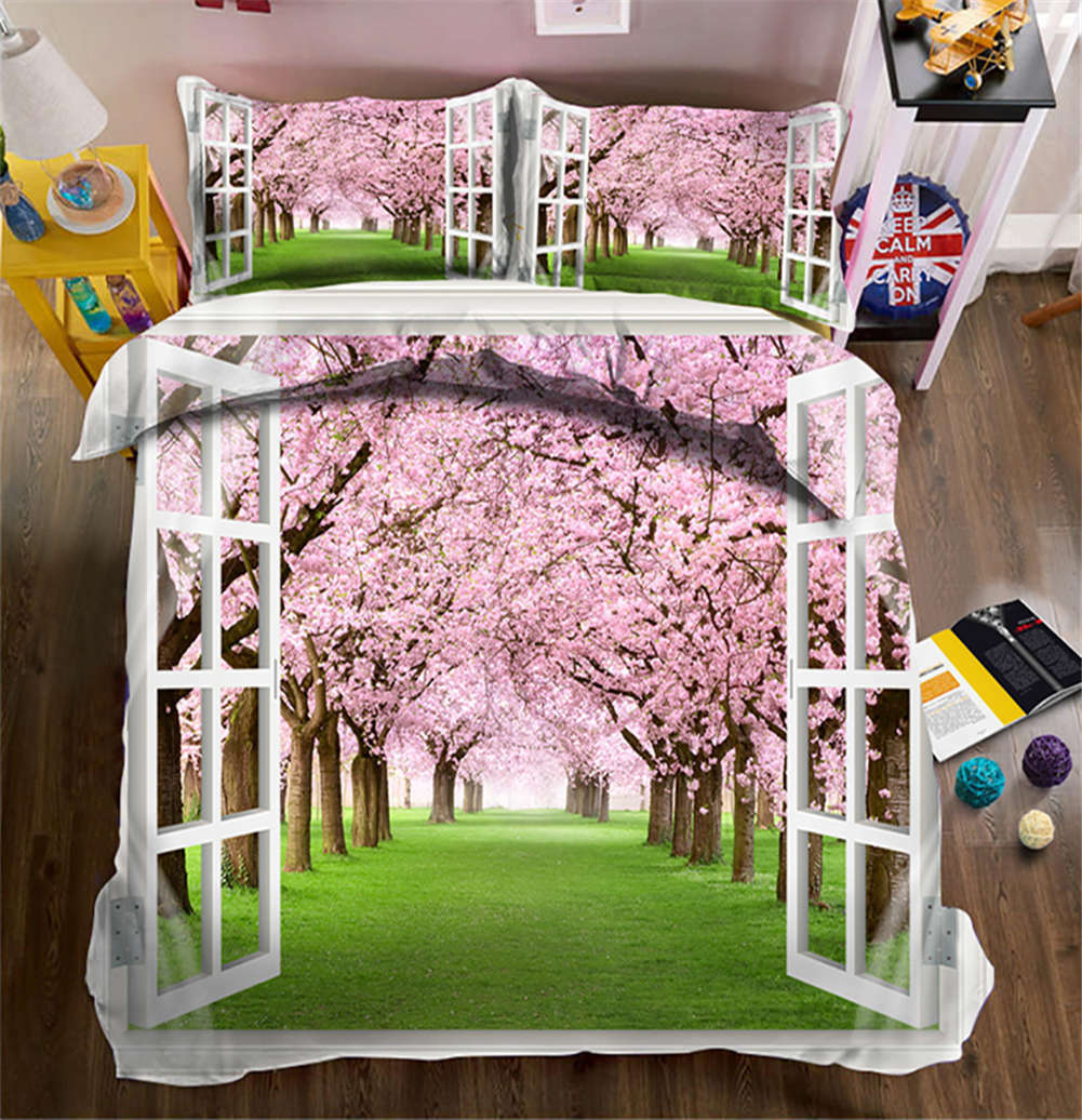 Walk Into Scenery 3D Printing Duvet Quilt Doona Covers Pillow Case Bedding Sets